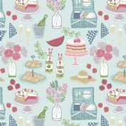 Lewis & Irene Picnic In The Park - 4693 - Picnic on Aqua Blue - A153.2 - Cotton Fabric